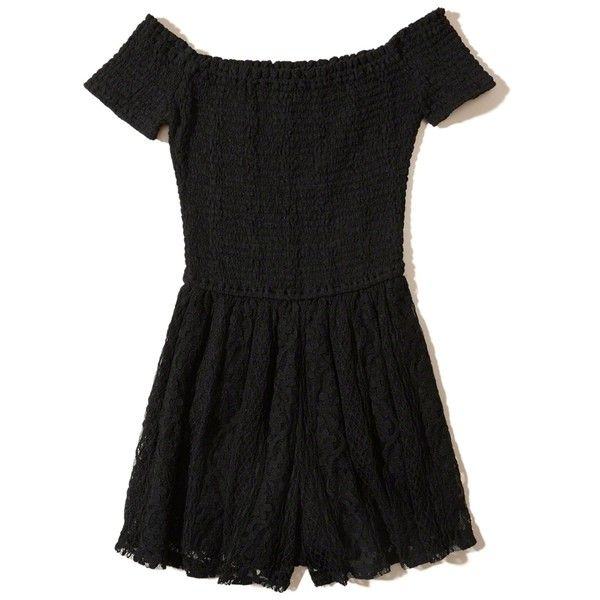 Hollister Smocked Off-The-Shoulder Lace Romper (29.705 CLP) ❤ liked on Polyvore featuring jumpsuits, rompers, black, playsuit romper, off the shoulder romper, off shoulder romper, lace romper and lace rompers