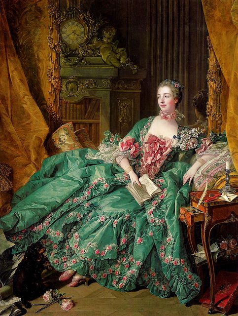 Francois Boucher 1703–1770 FR 'Portrait of Madame de Pompadour' 1756 - Rockoko. planty. background. foreground. clothing. props.