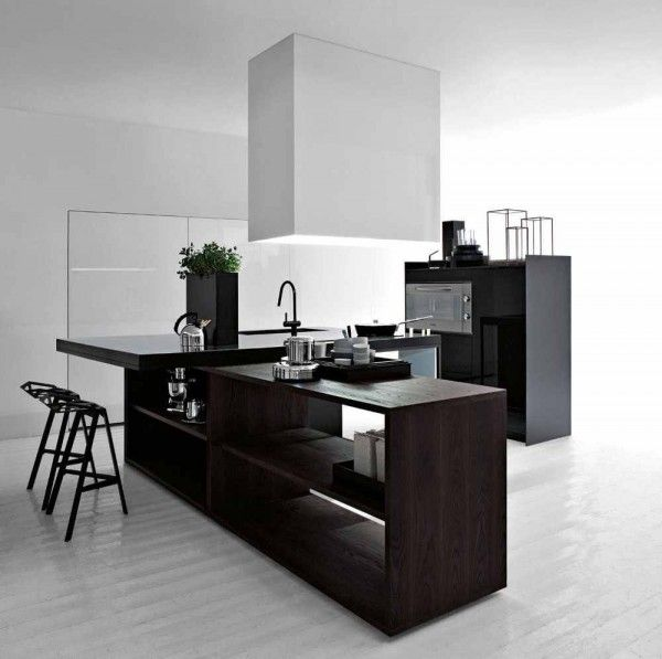Angular and clean, this kitchen could easily fit into the corner of any bachelor pad and heat a burrito or support a five course meal.