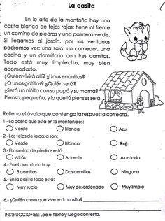 Fichas Infantiles: Ficha infantil de comprensión lectora