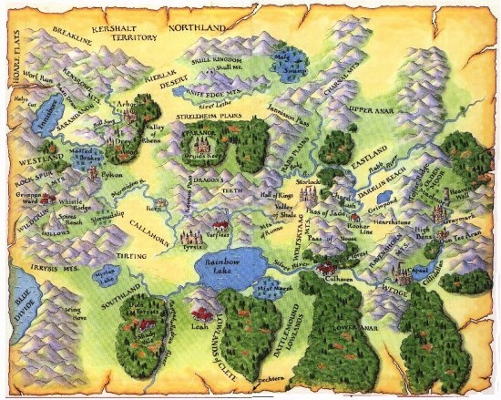 Shannara Four Lands map covering original Shannara series by Terry Brooks