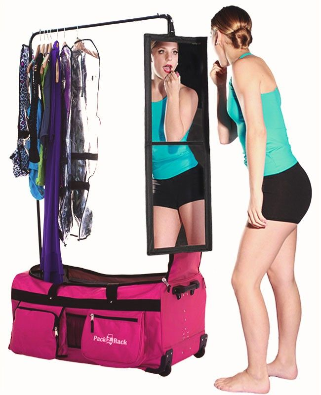 "Pack 2 Rack Is The Ultimate Rolling Dance Bag. Now accepting orders for December 4th shipping. SPECIAL OFFER: Order today and receive FREE US ground shipping - a $35 Value.+ Use Code cos1 - and receive a free Cosmetic Bag ($14.95 value) See the Pack2Rack in action below Pack2Rack is like a dance closet on wheels. A ""must have"" for any dancer.Designed by a former professional dancer / studio owner to help keep dancers organized.More features than the competition: * Removable Garment ..."