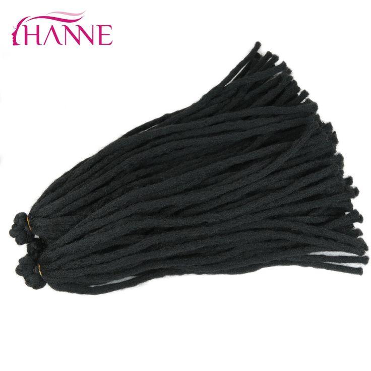 HANNE 18inch Crochet Braiding Hair More Soft Dreadlocks For Trendsetter Men And Women 6Packs/Lot Synthetic Thick Dreads 65g/pack #Affiliate