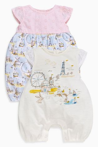 Buy Ecru Coastal Scene Rompers Two Pack (0mths-2yrs) online today at Next: United States of America