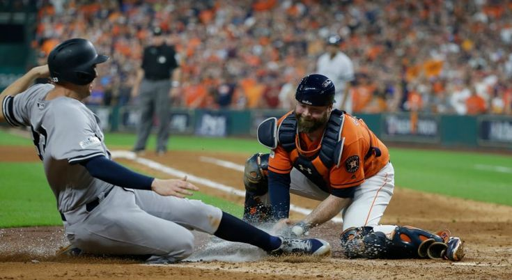 October 13, 2017:  ALCS Game 1: Yankees vs. Astros -  The Yankees fell to the Astros, 2-1, in ALCS Game 1. Houston Astros catcher Brian McCann tags out New York Yankees' Greg Bird at home during the fifth inning of Game 1 of baseball's American League Championship Series Friday, Oct. 13, 2017, in Houston.
