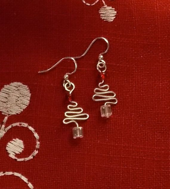 Wire Christmas Tree Earrings Christmas Jewelry by SimplieWired, $9.00
