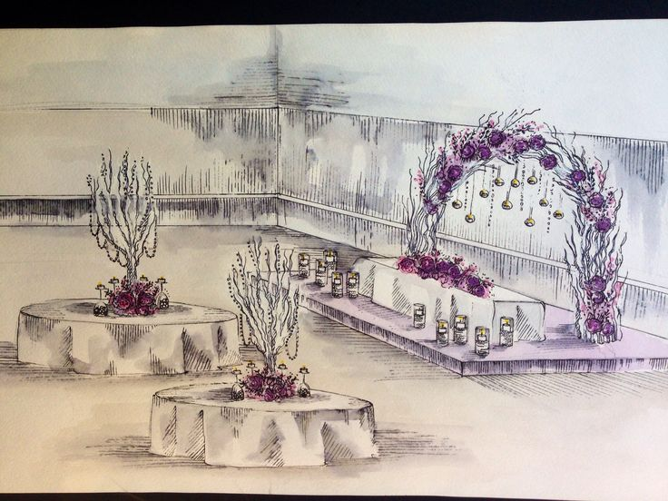 Sketch for pink wedding #weddingtree #arch #branches