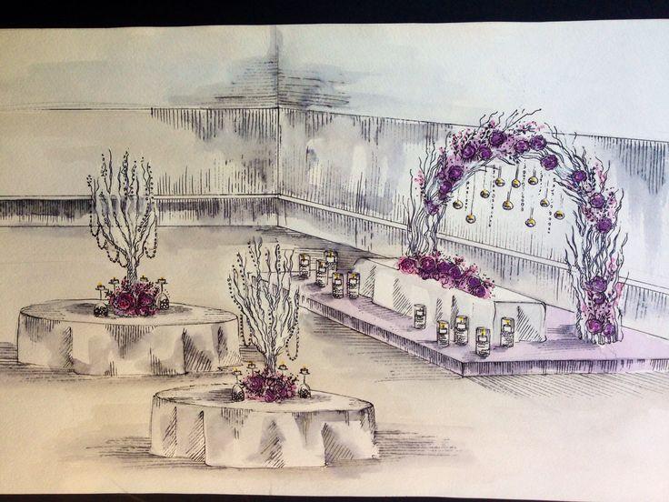 Sketch for pink wedding #weddingtree #arch #branches
