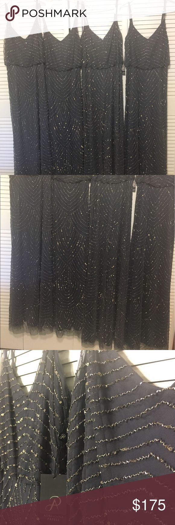 Adrianna Papell Long Dresses Adrianna Papell Art Deco Beaded Blouson Gown in Gunmetal color.  Was gonna used them for my Bridesmaids....Available Sizes: 0, 2Petite, 6 & 6Petite.  All Brand New, Never Used. Adrianna Papell Dresses Maxi