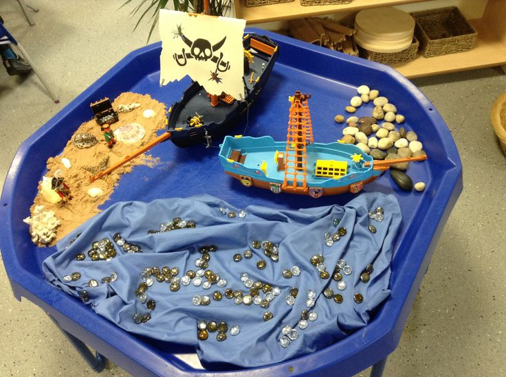 Pirates small world, complete with pirate ships playmobil pirates, sand with shells treasure, pebbles for rocks and blue material with glass beads for the sea.