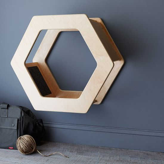 Wall-Mounted Hexagonal Cat Scratcher - for Amber...