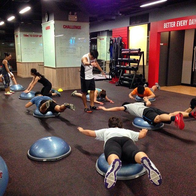 BOSU core exercise.
