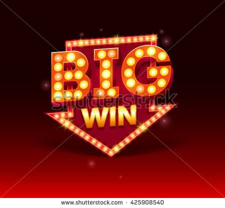 Retro sign with lamp Big Win banner. Vector illustration design with poker, slot machines, playing cards, slots and roulette. Big win with red lamp vector banner template