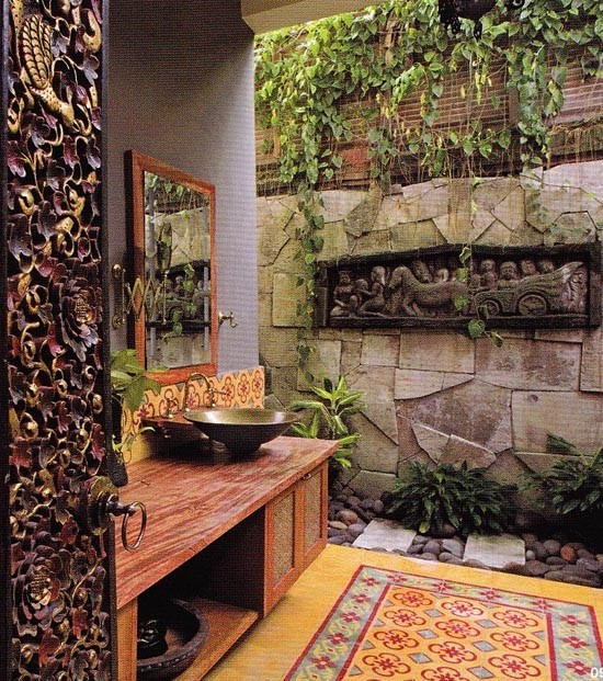 Another beautiful balinese bathroom... I will definitely want something similiar, even if it has to be indoors!
