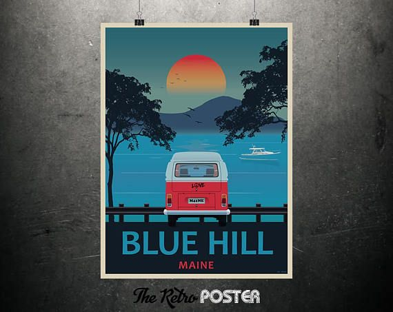 Blue Hill Maine  Maine Travel Poster Maine Wall Art Travel