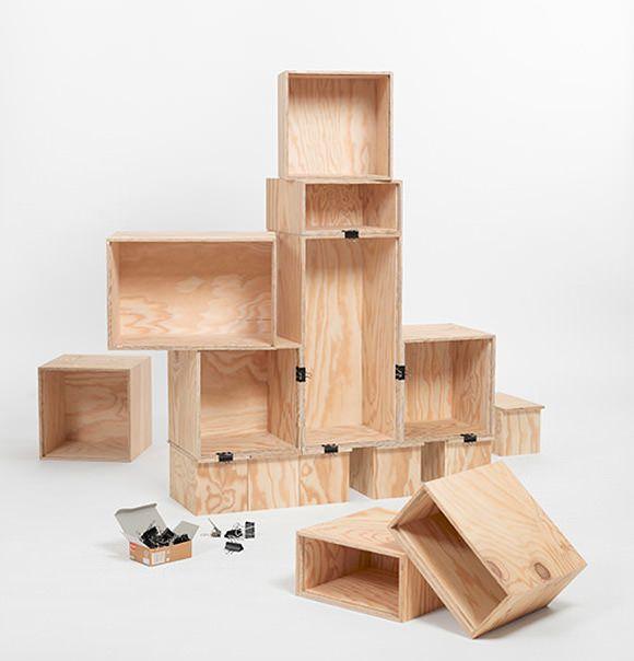 DIY Bookshelf - just wine boxes & binder clips
