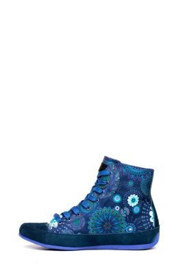 Desigual women's Canela. High-top sneakers, in dark blue with colourful mandala prints.