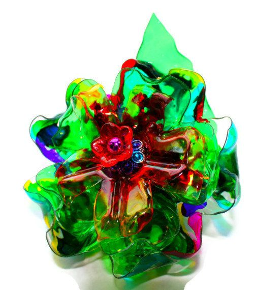 Plastic Bottle Flower Rainbow Hair clip Upcycled by ArtePlastique, $20.00