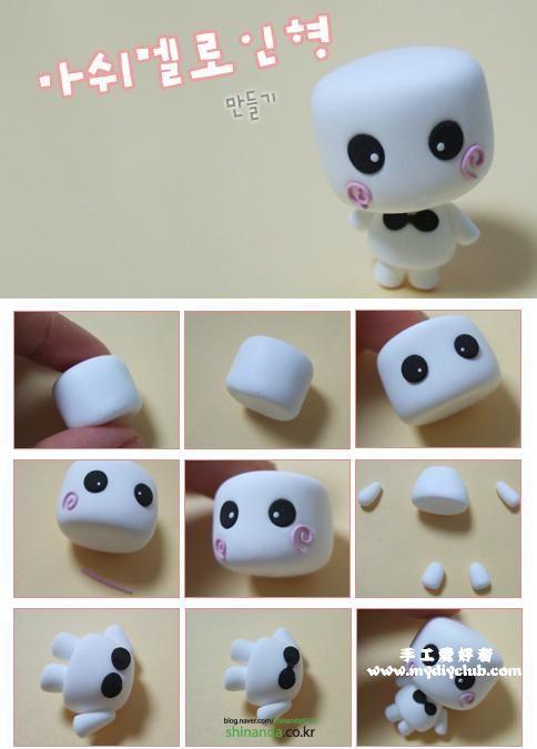 Como hacer un hombrecito de masmelo en porcelana fria