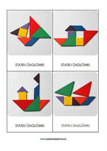 Statki i żaglówki - tangram karty