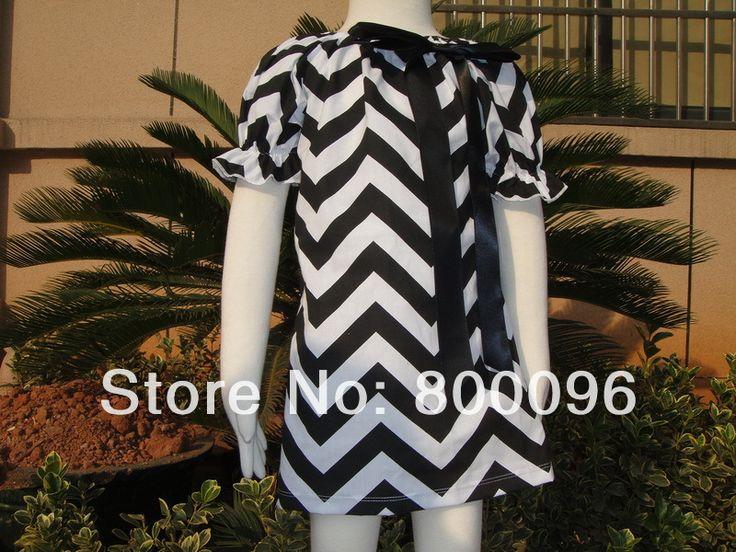 Детской одежды черный белый полосатые девушки шеврон платья девушки платье новорожденных оптовая продажа KP-MD008