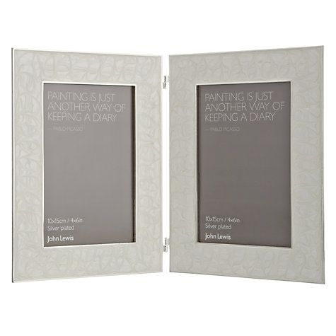 """Buy John Lewis Amy Silver Plated Enamel Double Photo Frame, 4 x 6"""" (10 x 15cm) Online at johnlewis.com"""