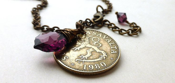 Coin necklace, Finnish necklace, February birthstone, Swarovski necklace, Amethyst pendant, Lion necklace, Vintage coin, Finland, Coin, 1980 by CoinStories on Etsy