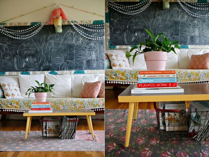 Bright yellow trim on the sides and legs of a standard coffee table - 25+ Best Ideas About Yellow Coffee Tables On Pinterest Used
