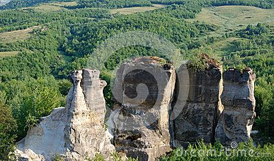 Standing cliffs in Gradina Zmeilor, Romania.