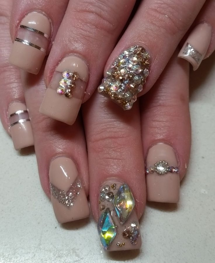 nude pale neutral negative space line rhinestone bling Silver Gold  nail art design 3D square flare  gel acrylic