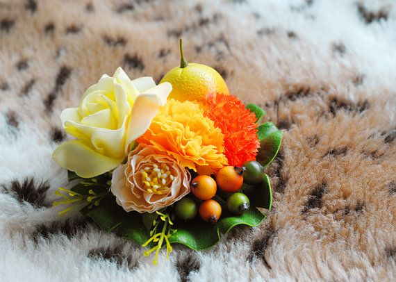 Tropical, Yellow & Orange, Floral Pin Up, Rockabilly, Vintage Inspired, Fruit, Tiki Luau, Hair Clip, Fascinator, Fashion Accessory