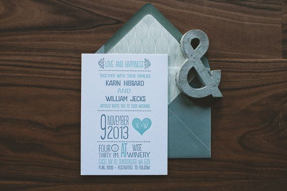 This invitation in this listing is a two color letterpress invitation. CUSTOMIZATION OPTIONS * Fonts, Colors, and the heart illustration can all