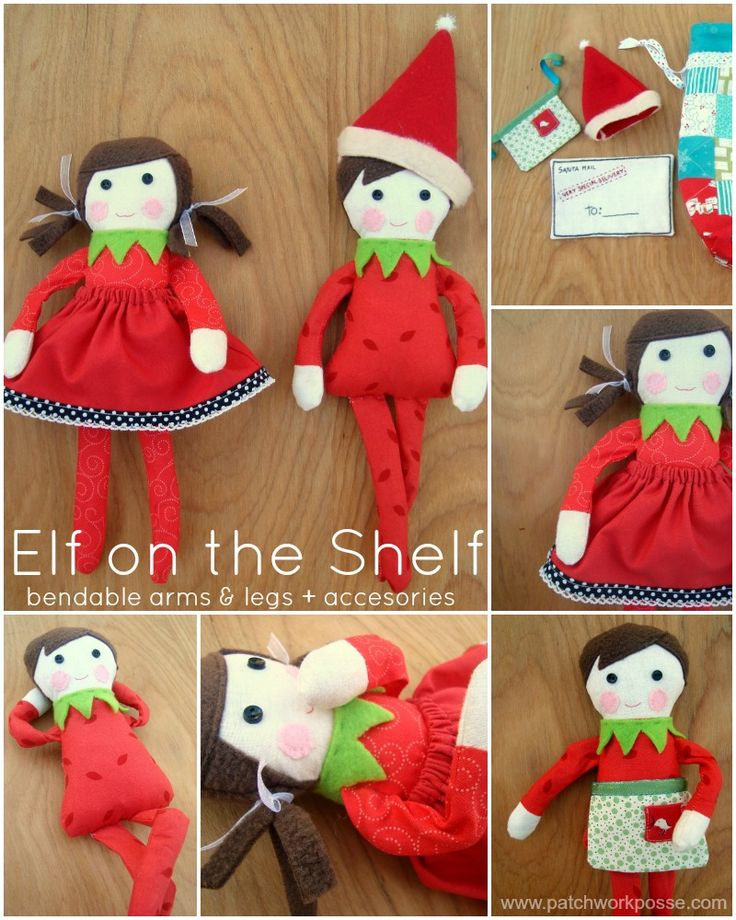 Elf on the Shelf Doll Pattern - free pattern and tutorial for boy and girl Elf on the Shelf dolls (with accessories and a lovely drawstring bag for storage).  Doll pattern is a free download but you must be a member of Craftsy to get it.