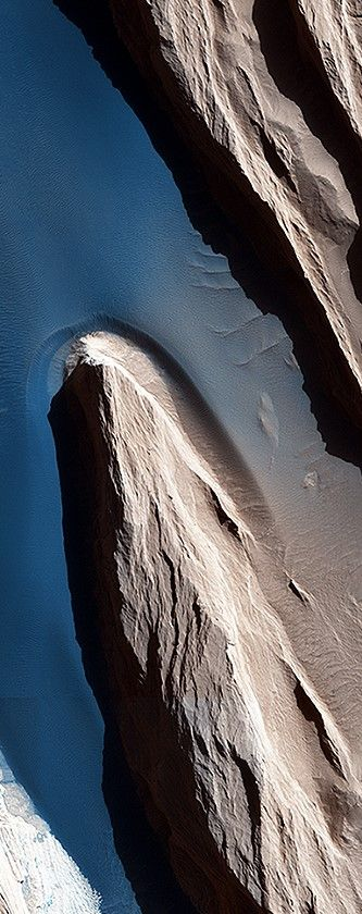 "Wind at Work on #Mars | NASA's Mars Reconnaissance Orbiter | Wind is one of the most active forces shaping Mars' surface in today's climate. The wind has carved the features we call ""yardangs,"" one of many in this scene, and deposited sand on the floor of shallow channels between them. On the sand, the wind forms ripples and small dunes. In Mars' thin atmosphere, light is not scattered much, so the shadows cast by the yardangs are sharp and dark."