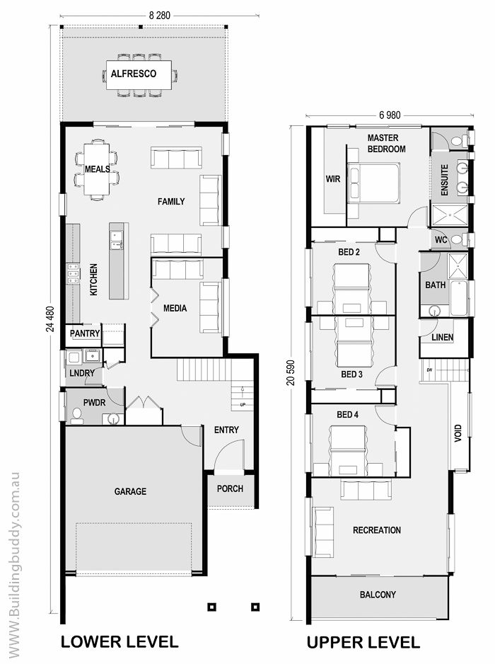 Waratah - Small Lot House Floorplan by http://www.buildingbuddy.com.au/home-designs-main/small-lot-house-plans/
