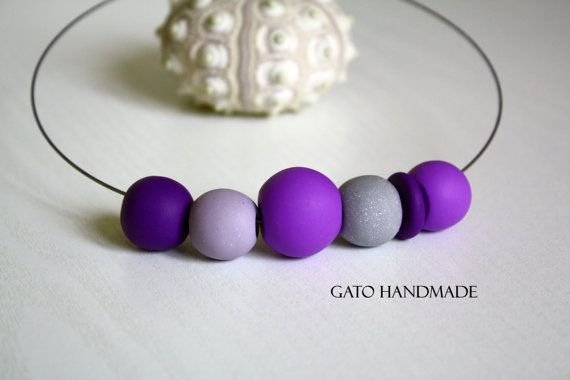 Unique necklace curated with beads Unique polymer by GATOHANDMADE