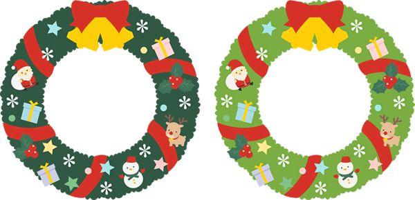 【12月/冬のイラスト】クリスマスリースのフレーム飾り枠