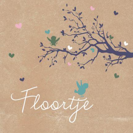 Kraft met een lieve hartjesboom. #geboortekaartje #boom #vogel #hartjes #meisje