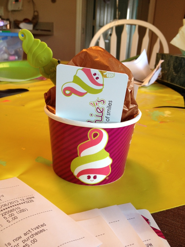 Cute way to give a gift card: Brand cup and spoon, brown tissue paper 'ice cream' and gift card! Menchies was very accommodating and even gave me stickers!!