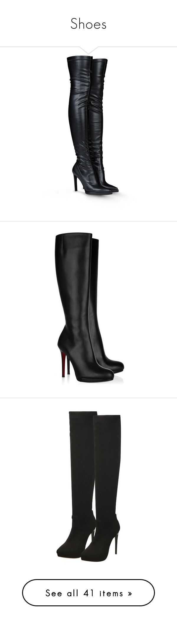 """""""Shoes"""" by maryemmanuel on Polyvore featuring shoes, boots, heels, botas, stella mccartney, black, over the knee high heel boots, high heel loafers, black heeled boots and black leather boots"""