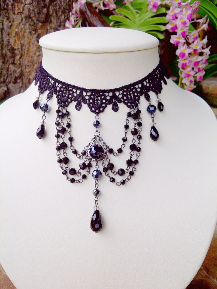 Gothic Lover Chocker Necklace by DeelenHandmade on Etsy, ฿1,500.00