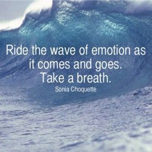 Ride the wave of emotion as it comes and goes. Take a breath. ~ Sonia Choquette