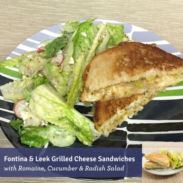 Fontina & Leek Grilled Cheese Sandwiches with Romaine, Cucumber ...
