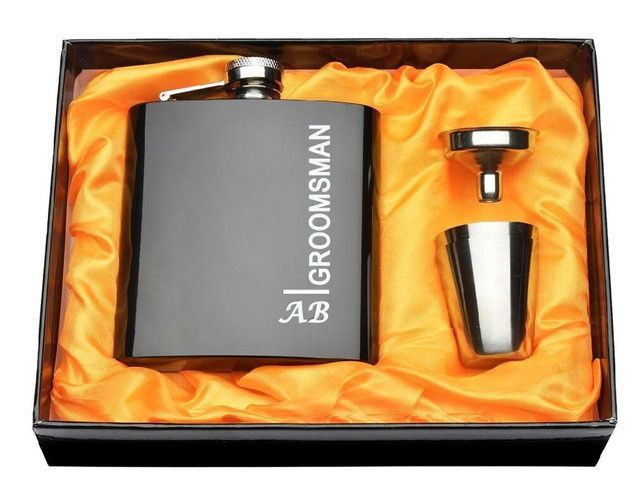 Personalized Black Hip Flask Stainless Steel