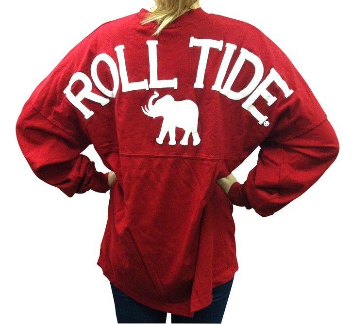 "Alabama ""Roll Tide"" spirit jersey with elephant on crimson. $39.99 $39.99"