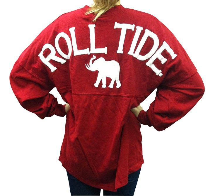 "Alabama ""Roll Tide"" spirit jersey with elephant on crimson. $39.99 $39.99"