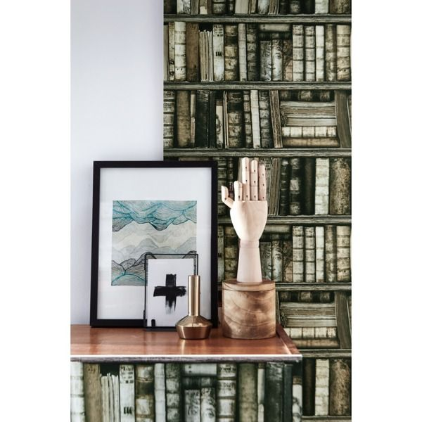 A magnificent wallpaper creation depicting an antique bookcase.