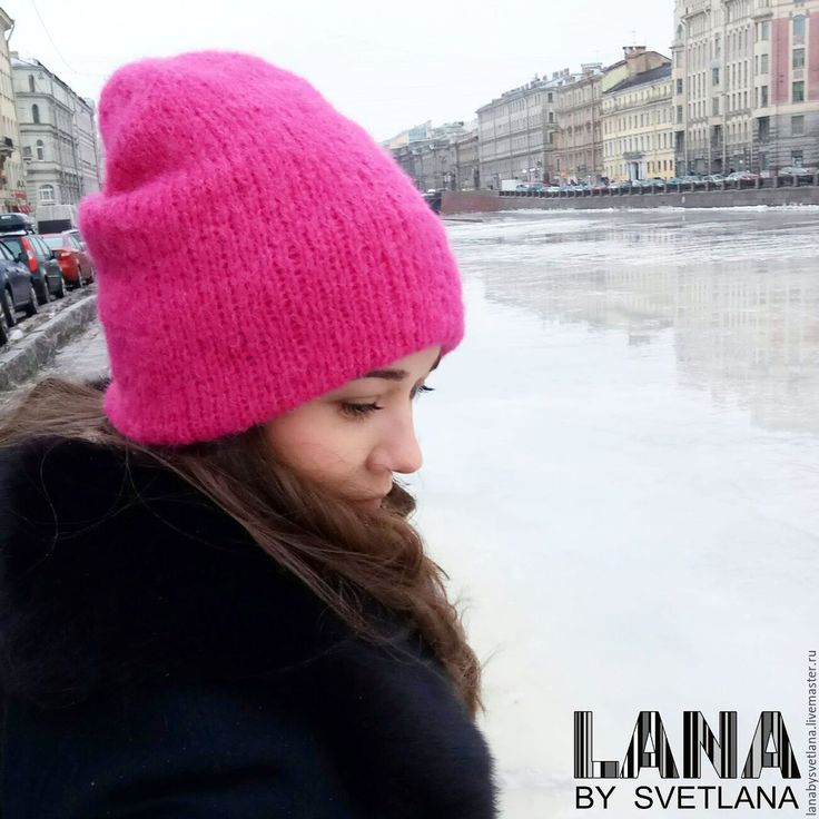 Купить Объемная шапка из альпаки и шелка двухслойная - шапка, шапка вязаная, шапка зимняя