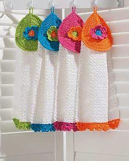 Free Crochet Pattern: Flower Power Tea Towels