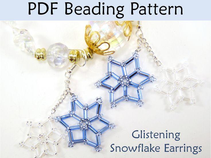 Beading Tutorial Pattern Earrings - Winter Holiday Snowflake Earrings - Simple Bead Patterns - Glistening Snowflakes #3486